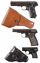 Three Semi-Automatic Pistols -A) Colt 1903 Pistol with Holster