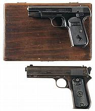 Two Colt Semi-Automatic Pocket Pistols -A) Colt 1903 Hammerless Pistol with Display Case