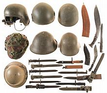 Seven Helmets, Seven Bayonets and Two Kukri Knives