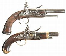 Two European Flintlock Reconversion Pistols -A)
