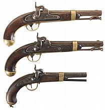 Three Percussion Pistols -A) U.S. Johnson Model 1842 Pistol