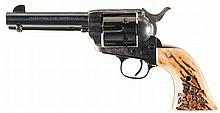 Black Powder Frame Colt Single Action Army Revolver with Stag Grips