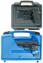 Two Sig Sauer Semi-Automatic Pistols with Cases -A) Sig Model P226 Pistol