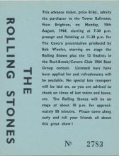 The Rolling Stones 1964 Tower Ballroom Concert Ticket