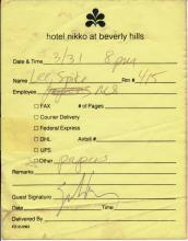 Spike Lee Signed Hotel Receipt