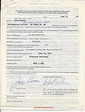 Jack Carter Signed 1970 Merv Griffin Contract