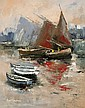 Niall Campion (20th Century) - GALWAY HOOKERS, Oil