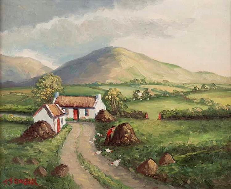 J.J. O'Neill - FARMSTEAD, COUNTY DOWN - Oil on