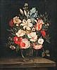 école HOLLANDAISE (Genre du XVIIesiècle)   Vase de fleurs sur un entablement de pierre   Huile sur toile. Châssis à écharpe (rentoilage).   Haut.: 46 - Larg.: 37,8cm.