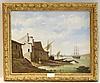 JOANNIN école FRANçAISE - Première moitié du XIXesiècle Vue de port Huile sur toile. Au revers timbre du marchand de toile Vallet et Bourniche, successeurs de Belot, rue de l'arbre sec n°3 Signé à la pointe en bas à droite.