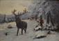 L. LARTIGAU Scène de chasse au cerf sous la neige