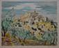 Yves BRAYER Le village des Baux Lithographie en