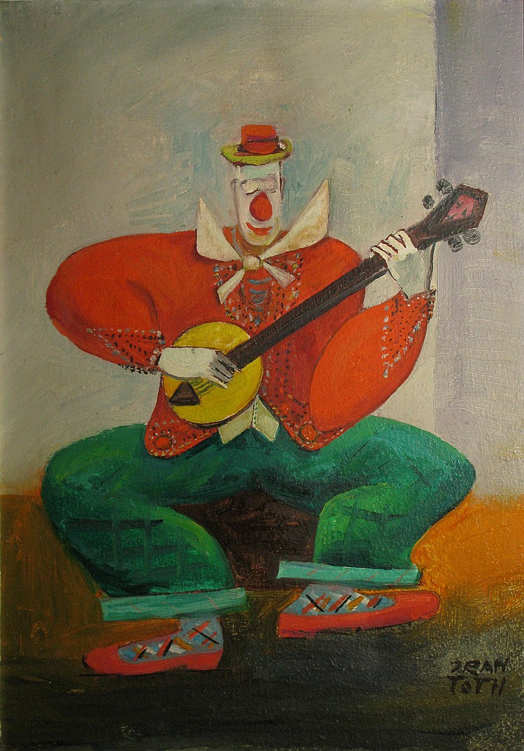 Jean TOTH  Clown with a banjo  Oil on canvas, signed bottom right, title on the back of the frame.  33x 24 cm.