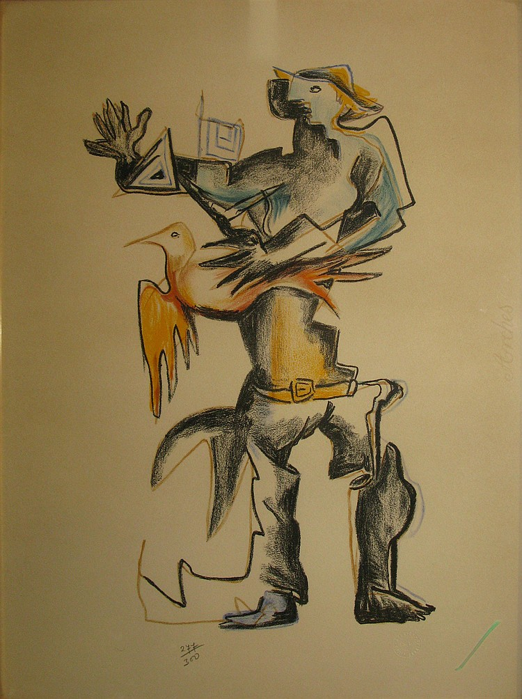 Ossip ZADKINE   Fowler   Lithograph in colors on Arches No. 277/300 (slight trace of sunshine), Studio's dry stamp   Ossip Zadkine lower right.   51 , 5 x 31.5 cm.