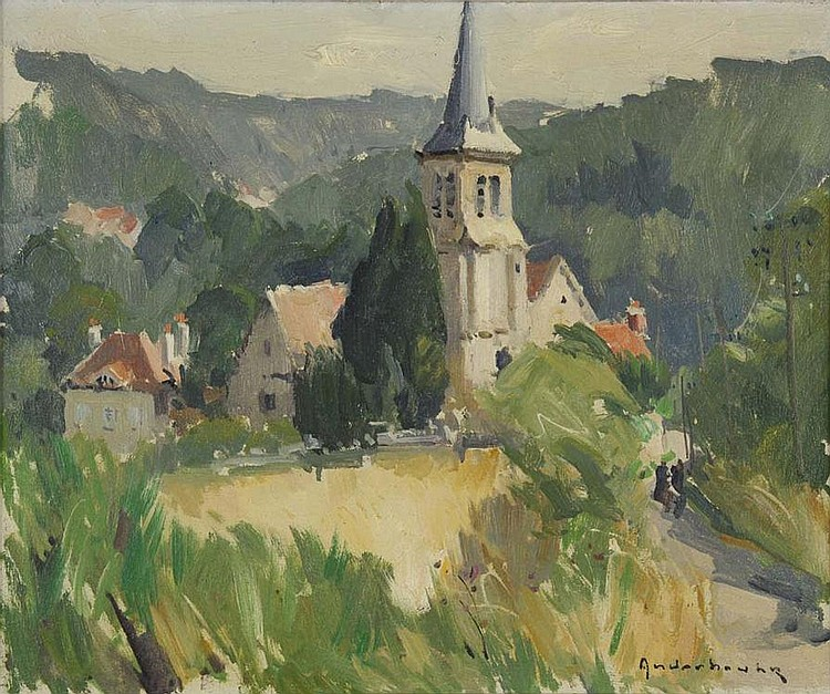 The Choisel Chruch, Seine et Oise, France, by Paul Jehan ANDERBOUHR. Oil on canvas, signed on the lower right, located and dated on the reverse.