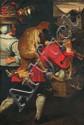 SNYDERS Frans (école de) (Anvers 1579 -1657) Le retour du marché Huile sur toile. (rentoilage ; quelques restaurations). Haut. : 172 - Larg. : 113 cm. Analogie : Snyders Franz (atelier de) Retour du marché, fragment ; toile 185 x 120 cm. Reprise de