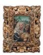 école FLAMANDE du XVIe siècle Piéta Huile sur panneau. Chêne. Haut. : 14 - Larg. : 19 cm. Cadre ancien en bois sculpté, ajouré et doré.  Voir la reproduction ci-dessus.