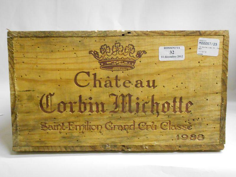 12 bouteilles CH. CORBIN-MICHOTTE, St-Emilion  1988  cb