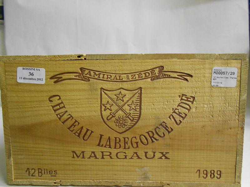 12 bouteilles CH. LABEGORCE ZEDE, Margaux  1989 cb
