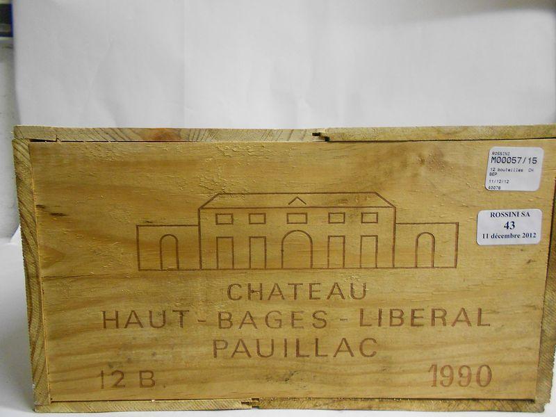 12 bouteilles CH. HAUT BAGES LIBERAL, 5° cru Pauillac   1990   cb
