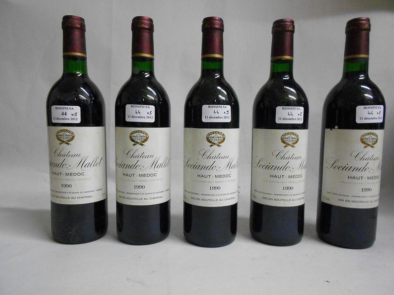 5 bouteilles CH. SOCIANDO-MALLET, Haut-Médoc  1990