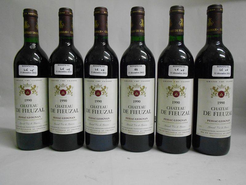 6 bouteilles CH. FIEUZAL, Pessac-Léognan  1990