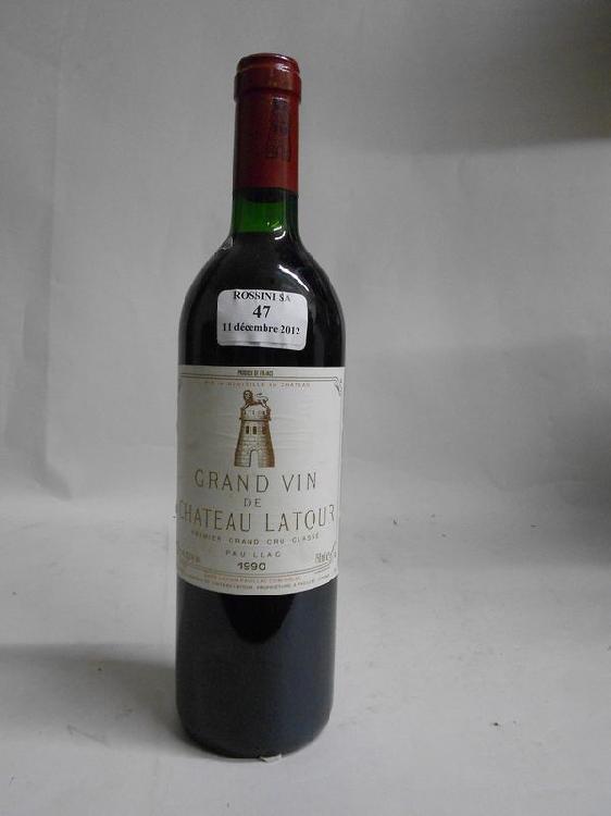 1 bouteille CH. LATOUR, 1° cru Pauillac  1990