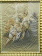 BOUCHER François (école de) (1703 -1770) Trois anges tenant un ruban. Pierre noire, sanguine et réhauts de blanc. Collé sur feuille. Filets d'encadrement à la plume. (traces de pliures et petites piqures). Haut. : 41,8 - Larg. : 31 cm.
