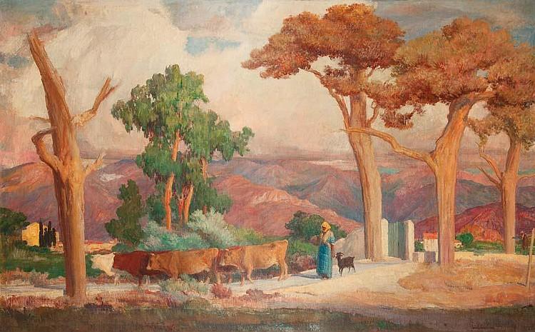 Léon CANNICCIONI - Le retour du troupeau en Corse - huile sur toile..