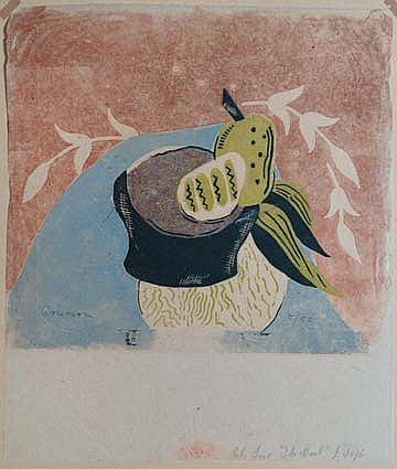 GRIERSON Ronald, 1901-1993 The bowl linogravure en couleurs sur papier mince, n° 5 / 50 (traces de plis), signé en bas à gauche, étiquette au dos du montage : The British Art Council Graphic Art Malta 1946,  24 x 27 cm (feuille : 31 x 27 cm).