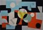 CONNAN Georges, 1912 -1987 Composition cinétique peinture sur papier marouflé sur isorel, signé en bas à droite, 76,5 x 110 cm.
