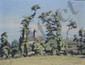 GUILLOUX Charles Victor, 1866 -1946 Village derrière les arbres huile sur carton (griffures), signé en bas à droite,  26,5 x 33,5 cm.