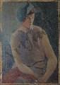 LABAT Fernand, né en 1889 La garçonne huile sur toile (manques), signée en bas à droite,  65 x 46 cm.