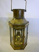 A good quality old brass ships hanging lamp with t