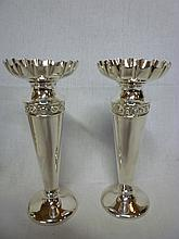 A pair of Edward VII silver tapered spill vases wi