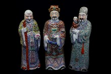 A large set of (3) Chinese famille rose porcelain immortals