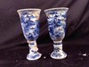 A pair of blue and white porcelain cups