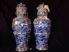 A pair of blue and white porcelain vases