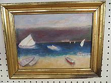 Vintage Oil on Board Boats Near Beach