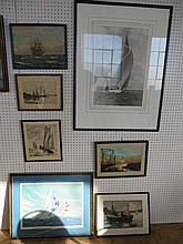 Group of Seven Items of Marine Art