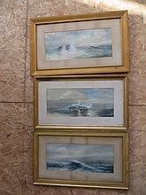 Group Antique Marine Seascapes Watercolors