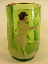Antique Mary Gregory Glass Child Playing Tennis