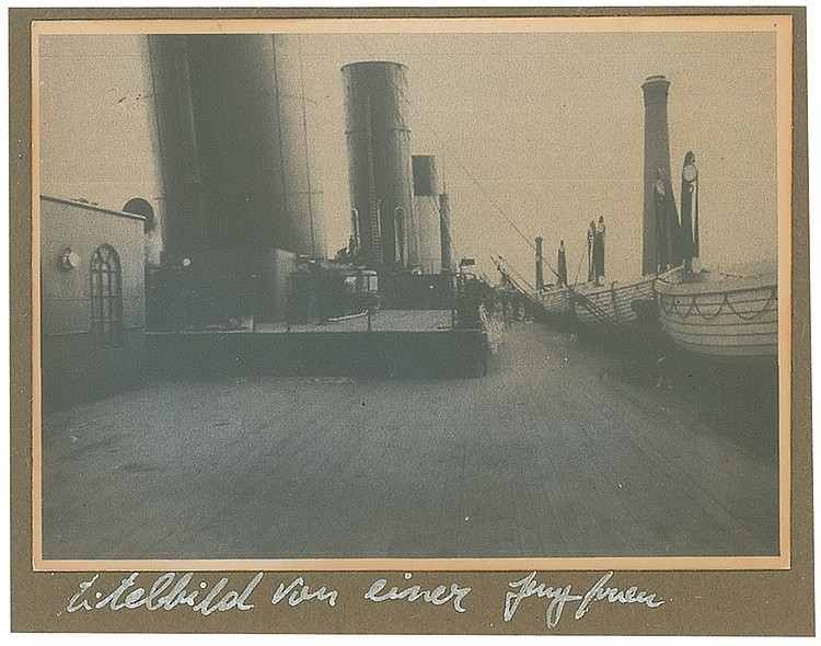 Deck of Titanic with Lifeboats