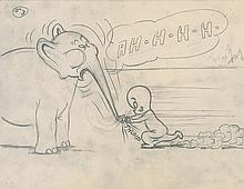 Casper and Elephant storyboard drawing from Spooking About Africa