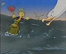 Jiminy Cricket production cel and background overlay of ocean with Courvoisier background from Pinocchio