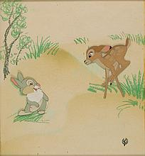 Bambi and Thumper production cel from Bambi