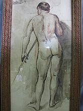 Water color of nude man