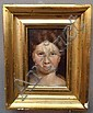 MINIATURE PORTRAIT ON WOOD PANEL OF A WOMAN WITH