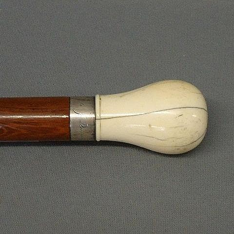 WHALEBONE KNOB TOP CANE INSCRIBED S SMITH TO J