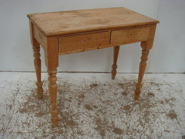Pine Two Drawer Side Table on Turned Legs